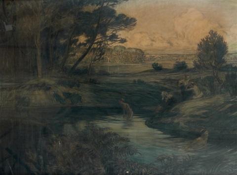Baigneuses dans un paysage breton