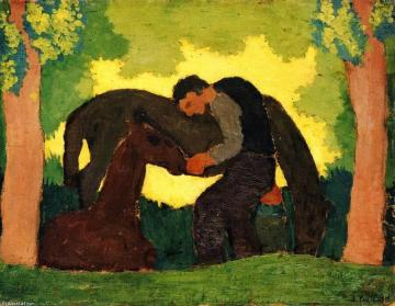 Edouard vuillard homme avec deux chevaux
