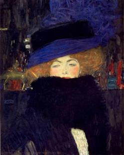 Gustav klimt lady with hat and feather boa