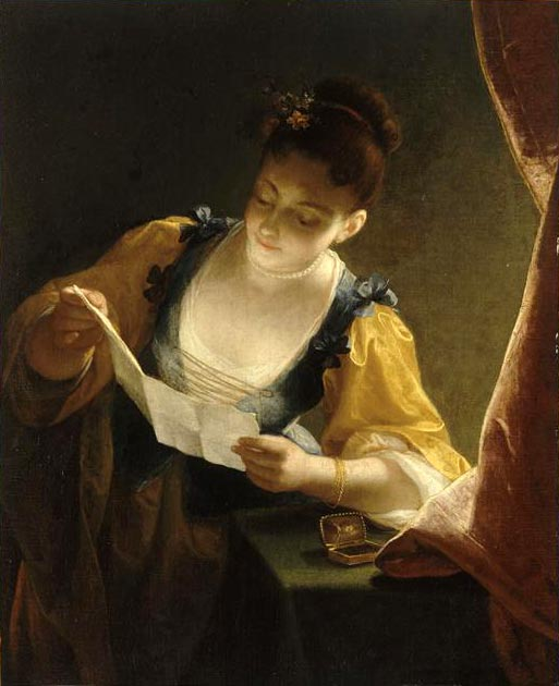 Jean raoux young woman reading a letter
