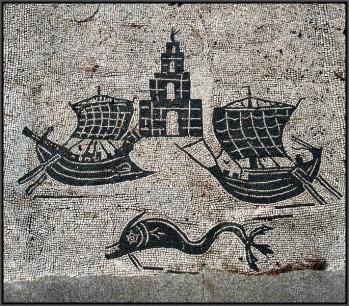 Ostia navire romain mosaic
