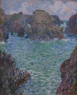 Port goulphar belle i le oil on canvas painting by claude monet 1887 art gallery of new south wales