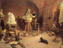 Rudolf Freitag travaillant sur le buste de Johannes Hevelius